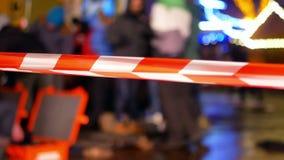Line police city danger. Police line crime street tape stock video