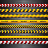 Police line, danger tapes on the dark metall background. Vector Stock Images