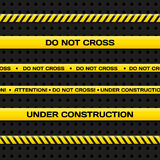 Police line and danger tapes. Realistic vector illustration. Royalty Free Stock Photo