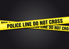 Police Line Do Not Cross. Yellow tape Royalty Free Stock Image