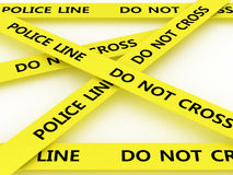 Police line do not cross. 3D Royalty Free Stock Photography
