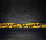 Police Line Do Not Cross. Yellow Headband Tape. Murder Scene Police Ribbon Stock Photography