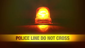 Police Line Do Not Cross Yellow Headband Tape and Orange flashing and revolving light. Murder Scene Police Ribbon. stock footage