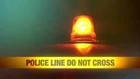 Police Line Do Not Cross Yellow Headband Tape and Orange flashing and revolving light Royalty Free Stock Photography