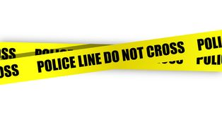 Police line do not cross. Yellow tape. On white background Stock Photo