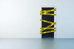 Police line on the doorway Royalty Free Stock Image