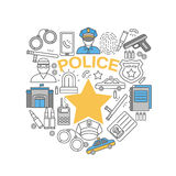 Police Line Icon Set. Police line  icon set combined in police badge with gold star in the center vector illustration Royalty Free Stock Photography