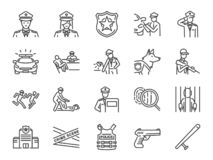 Police line icon set. Included the icons as cop, weapon, suspects, arrest, justice and more. vector illustration