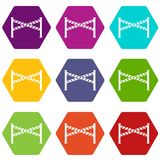 Police line icon set color hexahedron. Police line icon set many color hexahedron isolated on white vector illustration Royalty Free Stock Photography