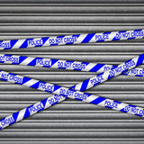 Police Line Metal Shutter Royalty Free Stock Photo