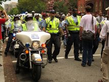 Police Line Protests Alt-Right. UNITE THE RIGHT 2018, DC, AUG. 12: Police provide the alt-right marchers protection from counterprotesters at the Unite the Right stock photography