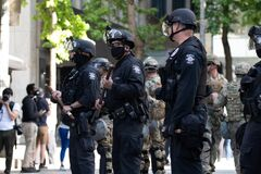 Police line during protests in downtown Seattle June 2020