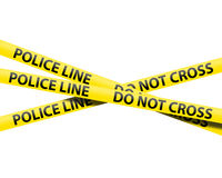 Police line tape. Isolated over a white background Royalty Free Stock Photo