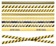 Police Line Tape. Police Line, Crime Scene, Do Not Cross, Construction Site and Danger Tape. Set of Vector Seamless Tile Illustrations Royalty Free Stock Photography
