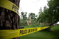 Police Line Tape. Surround a tree that exploded after being struck by lightning saying do not cross stock photography