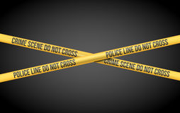 Police Line Tape. Vector illustration with Police Line Do Not Cross and Crime Scene title on Yellow Tape Stock Images
