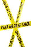 Police Line Tape. Yellow Police Line Cordon Tape Isolated on White Royalty Free Stock Photos