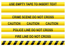 Police line tapes. With a blank one to insert your own text Royalty Free Stock Photography