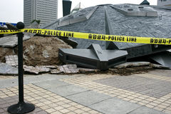 Police Line on Unidentified Object. In Seoul Korea Stock Images
