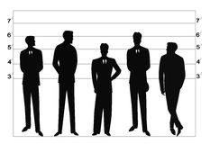Police line up. Men standing in police line up in silhouette at station Stock Photography