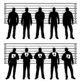 Police line up silhouettes Stock Photos