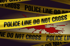 Police Lines at the Crime Scene. With spilled blood in the background Royalty Free Stock Photo