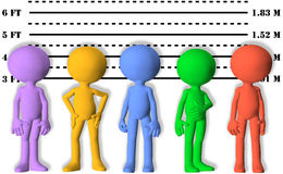 Police lineup mugshots of wanted 3D symbol people. A gang of most wanted colorful 3D people lined up in a line up Royalty Free Stock Image