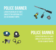 Police logos and banners. Elements of the police equipment icons royalty free illustration