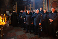 Police from Lviv arrived in Kiev to join Euromaidan Stock Image