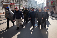 Police from Lviv arrived in Kiev to join Euromaidan Royalty Free Stock Image