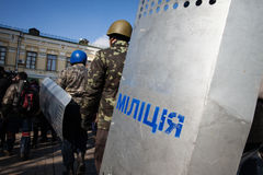 Police from Lviv arrived in Kiev to join Euromaidan Stock Images