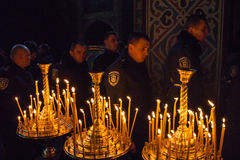 Police from Lviv arrived in Kiev to join Euromaidan Royalty Free Stock Photography