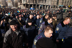 Police from Lviv arrived in Kiev to join Euromaidan Stock Photo