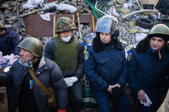 Police from Lviv arrived in Kiev to join Euromaidan Royalty Free Stock Photo