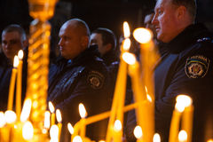 Police from Lviv arrived in Kiev to join Euromaidan Stock Photography