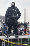 Police M4 Rifle and Crowd at Obama Inauguration Stock Photo