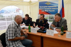 The police major general Vladimir Kuzin and the rector of legal university Victor Blazheev conduct reception of drivers in an exit Stock Images