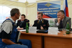 The police major general Vladimir Kuzin and the rector of legal university Victor Blazheev conduct reception of drivers in an exit Stock Photos