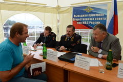 The police major general Vladimir Kuzin and the rector of legal university Victor Blazheev conduct reception of drivers in an exit Stock Photo