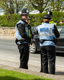 Police - Police Watching You - Malton - Ryedale - North Yorkshire - UK. Police attending a Anti-fracking march in Malton, North  Yorkshire, UK Royalty Free Stock Photography