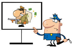 Police man. Pointing to a robber sign Royalty Free Stock Image