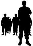 Police man four. People of special police force on white background Royalty Free Stock Photos