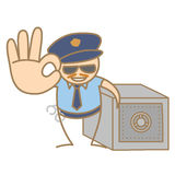 Police man guarding money box. Cartoon character of police man guarding money box Stock Photos