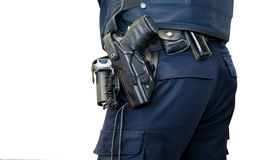 Police man with gun belt isolated Stock Photos