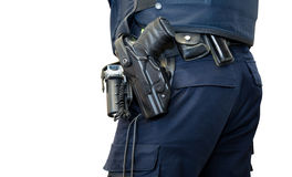 Police man with gun belt isolated Royalty Free Stock Photography