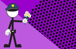 Police man pictogram cartoon background flowers Stock Photography