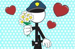 Police man pictogram cartoon background love Royalty Free Stock Photography