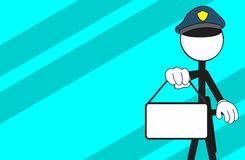 Police man pictogram cartoon background singboard Stock Photo