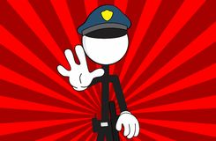 Police man pictogram cartoon background stop Stock Photo