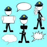 Police man pictogram cartoon set6 Stock Photography